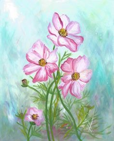 Items similar to Pink Cosmos Flowers Original Acrylic Painting Spring Summer Art on Etsy Abstract Watercolor, Watercolor Paintings, Painted Rocks, Hand Painted, Cosmos Flowers, Summer Art, Spring Summer, Beautiful Paintings, Canvas Tote Bags
