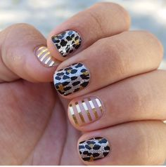Gilded Leopard and Metallic Gold Stripe Jamberry Nail Wraps