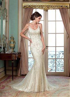 Elegant Tulle Spaghetti Straps Neckline Natural Waistline Mermaid Wedding Dress With Embroidery & Rhinestones