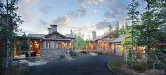 An ode to Montana's homesteading past inspires an intimate Yellowstone Club home Custom Home Designs, Custom Homes, Yellowstone Club, Rustic Bathroom Designs, Floating Staircase, Home On The Range, Dream House Plans, Dream Houses, Big Sky