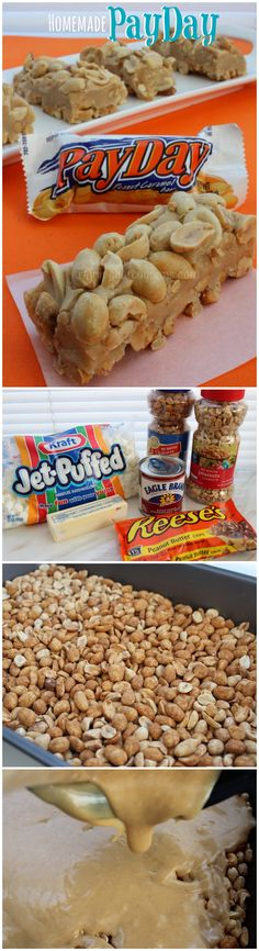 Homemade PayDay Candy Bars (Refrigerate to setup properly) Fudge Recipes, Candy Recipes, Sweet Recipes, Dessert Recipes, Peanut Recipes, Payday Candy Bar, Payday Bars, Marzipan, Toffee