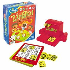 """Zingo. Blogger said this was a favorite game to play with her 3.5 yr old & all her kids enjoyed it over the years. Brings fast-paced excitement & learning to the classic game of Bingo. Kids get a kick out of pulling the Zinger forward to reveal two mystery tiles, and then try to be the first to call out the tiles that match the images on their cards. The first player to fill their card wins by yelling """"Zingo."""" Images with printed words & 2 levels of play make this the perfect game to grow…"""