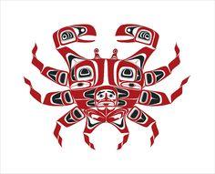 'Crab' by Scott Copeland. Haida Kunst, Inuit Kunst, Arte Inuit, Haida Art, Inuit Art, Native American Print, Native American Symbols, American Indian Art, Native Canadian