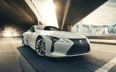 Download wallpapers 4k, Lexus LC 500, street, 2017 cars, movement, japanese cars, Lexus