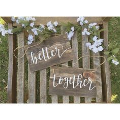 Better Together Wedding Chair Signs | Wedding Chair Signs | Bride and Groom Chair Signs by DarlingAdorned on Etsy https://www.etsy.com/listing/278907542/better-together-wedding-chair-signs