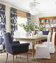 Blue IKAT curtains blue white curtains Duralee kilim drapes