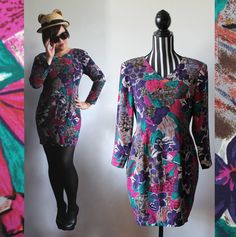 80s fitted long sleeve dress // v-neck // size M // free shipping in Australia by ScarlessVintage on Etsy