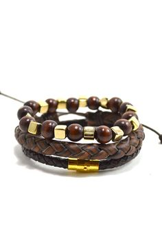 3 Pack Leather/Brown/Gold