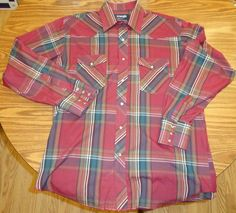 Wrangler Western Shirt 16 1/2 35 Peralized Snaps Rodeo Men's X Long Tails LS #WranglerWestern #PeralizedSnapFront