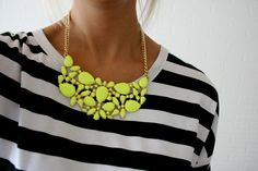 stripes and neon (love that bib necklace)