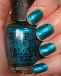 I got a pedicure in this colour (OPI's Austin-Tatious Turquoise) to coordinate with my Eid outfit. Love it; it looked wonderful with the embellished gold sandals I also wore. (This picture's from Ditch the Mittens)