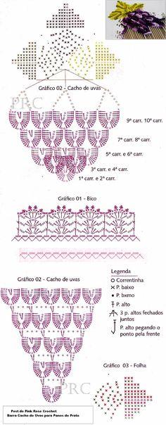 Barra+Croche+Cacho+de+Uvas++Gráfico+Grape+Crochet++Edging.PNG 625×1,600 pixels