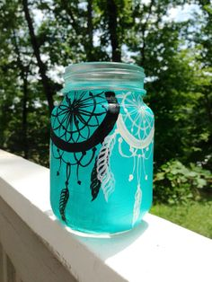 Hand painted dream catcher mason jar mug by ArianaVictoriaRose on Wanelo
