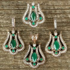 Hurrem Sultan Set Tulip Marquise Emerald Color Ottoman Jewelry 925SS #Unbranded