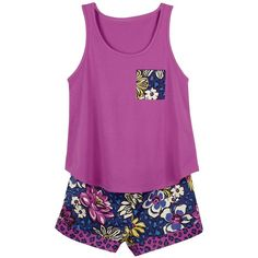 Vera Bradley Pajama Shorts and Tank in African Violet ($25) ❤ liked on Polyvore featuring intimates, sleepwear, pajamas, african violet, sale patterns, holiday pajamas, cotton jersey, cotton sleepwear, vera bradley and cotton pajamas