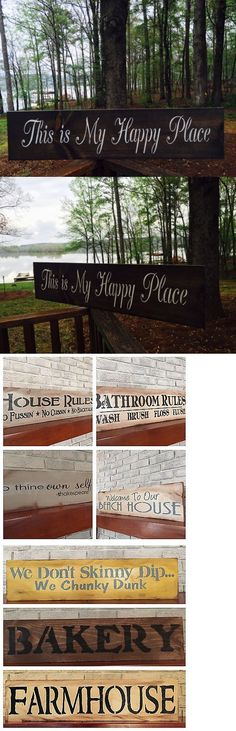 Plaques and Signs 31587: Large Rustic Wood Sign - This Is My Happy Place - 3 1 2 Feet Long! Farmhouse -> BUY IT NOW ONLY: $33.99 on eBay!