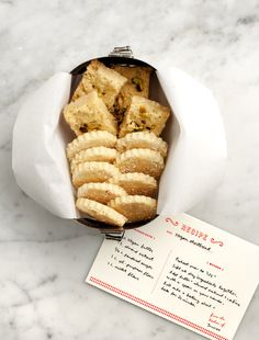 biscuits with handwritten recipe