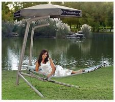 Outdoor Caribbean Lounge Hammock Chair Patio Furniture Hanging Bed Canopy Swivel