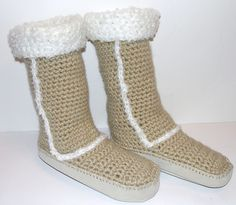 Ravelry: Ugg Style Slipper Boots w/ Leather Soles pattern by Diane Langan