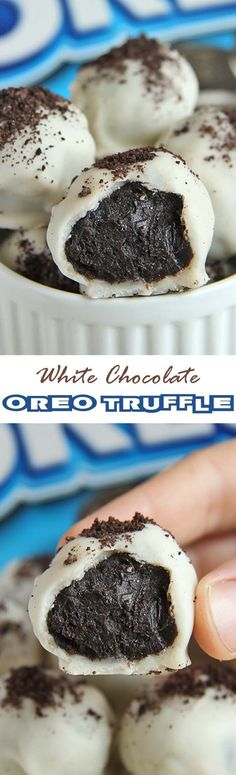 White Chocolate Oreo Truffles are quick, easy and perfect sweet treat for those who do not want to spend time baking. : White Chocolate Oreo Truffles are quick, easy and perfect sweet treat for those who do not want to spend time baking. Easy Desserts, Delicious Desserts, Dessert Recipes, Yummy Food, Baking Desserts, Oreo Desserts, Tasty, Health Desserts, Healthy Food
