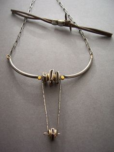 'Texas Longhorn' necklace made with sterling silver tubes and hand forged beads on sterling silver chain- dna jewelry designs