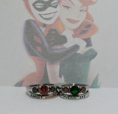 Hey, I found this really awesome Etsy listing at https://www.etsy.com/listing/247666634/harley-quinn-and-poison-ivy-rings-black