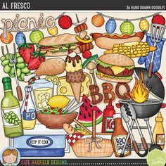 """""""Al Fresco"""" picnic and BBQ doodles from Kate Hadfield Designs"""