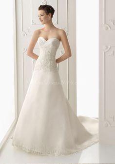 organza sweetheart crystals applique chapel train empire waist wedding dress - newdress2014.com
