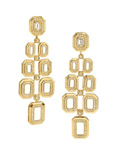 Ivanka Trump 18k Yellow Gold Pave Diamond Octagonal Link Chandelier Earrings. Available at London Jewelers.