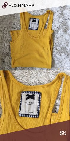 Gilly Hicks yellow tank top. Size S Gilly Hicks yellow rubbed tank top. Perfect for sleeping or working out. Size S Gilly Hicks Tops