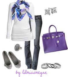 """""""A touch of Purple"""" by lilmissmegan on Polyvore. I love everything about this outfit!"""