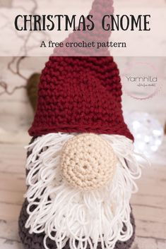 Crochet christmas gnome pattern free knitting Ideas for 2019 Crochet Pattern Free, Crochet Patterns Amigurumi, Crochet Dolls, Crochet Yarn, Easy Crochet, Knitting Patterns, Free Knitting, Crochet Santa, Christmas Crochet Patterns