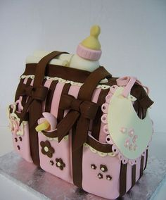 #cake #baby shower #girl #fondant #baby bag #bottle #diapers #bows