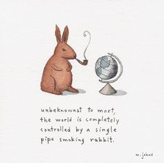 the world is controlled by a rabbit    ::  ::    6x6 inches, ink and watercolour on paper, mounted on board.   © Marc Johns