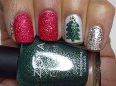 My Nail Polish Obsession: Christmas Eve Mani with OPI Magazine Cover Mouse, Zoya Chita, Orly Au Champagne & Nubar Glittified