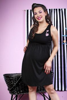 Rockabilly Gothic Black Maternity Mended Heart Dress Plus Size - $54.95