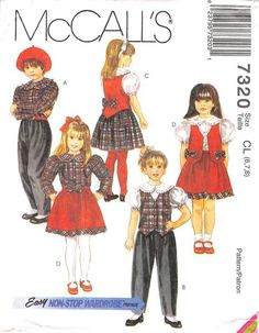 MCCALL'S 7320 - FROM 1994 - UNCUT - CHILDRENS BLOUSE, LINED VEST, PULL-ON PANTS AND SKIRT