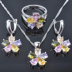 Flower Design Multicolor Topaz Gemstone Silver For Women Jewelry Sets Qz0252