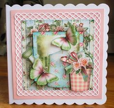 - Beautiful card front kit that includes 3 sheets to print cut and assemble to make a gorgeous card. The kit includes an inse. Pink Cards, Print And Cut, Pastel Pink, Beautiful Gardens, I Card, Decoupage, Card Making, Base, Kit