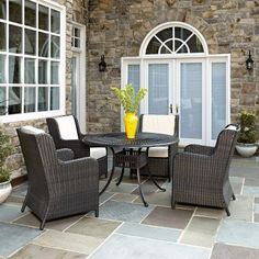 Outdoor Home Styles Largo Round 5 Piece Patio Dining Set with Riviera Chairs - 5560-3205