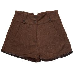 HANDSOM Tweed Piper Shorts (315 CNY) ❤ liked on Polyvore featuring shorts, bottoms, pants, brown, tweed shorts, brown shorts, brown high waisted shorts, high-waisted shorts and high-rise shorts
