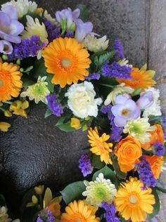 Funeral wreath vibrant by loubeeblooms.com Funeral, Floral Wreath, Vibrant, Wreaths, Home Decor, Floral Crown, Decoration Home, Door Wreaths, Room Decor