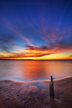 ~~ONE... ~ single solitary stump at sunset on Eufaula Lake, Oklahoma by Todd Tobey~~