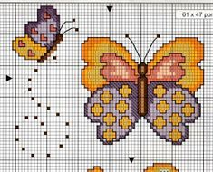 Cross Stitch Embroidery, Cross Stitch Patterns, Butterfly Cross Stitch, C2c Crochet, Stitch 2, Butterfly Flowers, Bargello, Jewelry Patterns, Emoticon