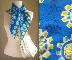 60s Vera Neumman Lady Bug scarf / Vera silk scarf / paisely floral geometric / blue green white, LARGE 31 inch square