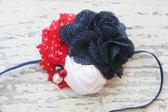 Burlap chiffon flower and satin rosette festive Fourth of July headband by birdie baby boutique