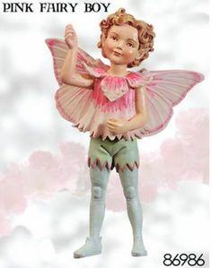 Retired Cicely Mary Barker Pink Boy Flower Garden Fairy Ornament Figurine | eBay