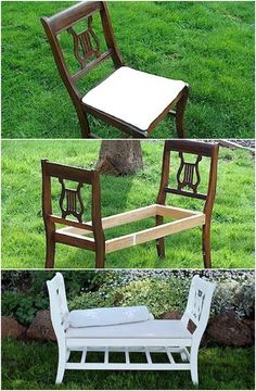 Turn your old chairs into a creative bench - These furniture hacks will turn outdated and old furniture into treasured pieces. From little to no money you can have creative furniture statements throug Diy Furniture Hacks, Old Furniture, Refurbished Furniture, Farmhouse Furniture, Repurposed Furniture, Furniture Projects, Furniture Makeover, Garden Furniture, Refinished Chairs