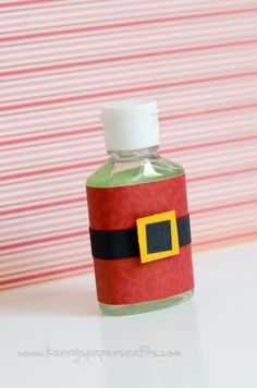 Great idea for cute and sensible Christmas gifts for the class room or office friends.. Santa Suited hand sanitizer.