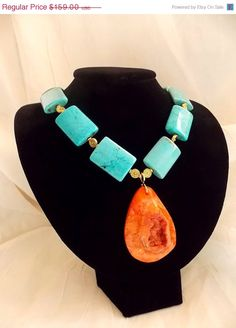 ON SALE Tangerine Orange Druzy Agate Pendant Turquoise Magnesite Necklace 2013 Trend Statement Necklace.
